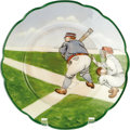 Antiques:Decorative Americana, MZ Austria China Baseball Plate made in Austria for the Americanmarket by Moritz Zdekauer, circa 1900. The face shows a cat...