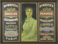 Dr. White's Medicinal Cures Original Sign. Advertising the newest in turn of the century cures for liver disease, coughs...