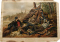 """Antiques:Posters & Prints, Currier & Ives """"Laying Off"""" Lithograph. From the Camping InThe Woods series and dated 1863 from inscriptions on the tru..."""