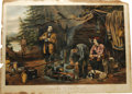 """Antiques:Posters & Prints, Currier & Ives """"A Good Time Coming"""" Lithograph. From theCamping In The Woods Series this print is dated 1863. It waspa..."""