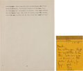 """Miscellaneous:Ephemera, [Martin Luther King Jr.]. Final Page of the Speech """"Facing the Challenge of a New Age"""" with Original Transmittal Note Dated Tw... (Total: 2 )"""
