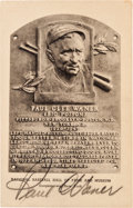 Autographs:Post Cards, Circa 1960 Paul Waner Signed Black & White Hall of Fame Plaque....