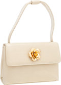 Luxury Accessories:Bags, Chanel Beige Lambskin Leather Evening Bag with Camelia FlowerDetail . ...
