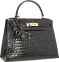 "Luxury Accessories:Bags, Hermes 28cm Shiny Black Crocodile Sellier Kelly Bag with GoldHardware. Very Good Condition. 11"" Width x 8"" Height x4..."