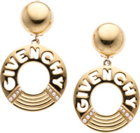 Givenchy Gold Clip-On Earrings with Glass Pearls