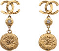 Luxury Accessories:Accessories, Chanel CC Earrings with Crystal and Medallions. ...