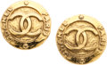 Luxury Accessories:Accessories, Chanel Gold CC Medallion Clip-On Earrings. ...