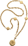 Luxury Accessories:Accessories, Chanel Gold Chain Necklace with Quilted Diamond Beads, Crystal& CC Pendant. ...