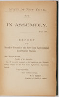 Books:Americana & American History, [W. C. Barry]. State of New York. No. 82. In Assembly, April,1893. Report of the Board of Control of the New York Agric...