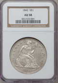 Seated Dollars: , 1842 $1 AU58 NGC. NGC Census: (77/73). PCGS Population (34/85).Mintage: 184,618. Numismedia Wsl. Price for problem free NG...