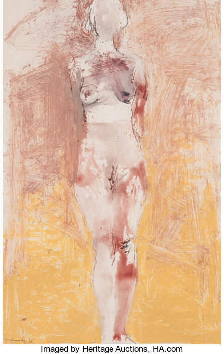 MANUEL NERI (American, b. 1930) Untitled, #10 (Nude), 1995 Oil-paint stick, dry pigment and charcoal on paper 41 x 26...