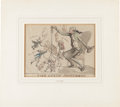 """Books:Original Art, Henry Wigstead (1770?-1800), artist. Original Caricatures: """"The State Fisherman"""". 10.25 x 7.25 inches, matted to an overall ..."""