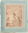 """Books:Original Art, Thomas Rowlandson (1756-1827), artist. Original Drawing: """"The Sculptor and His Sitter"""". 6.5-inches x 8.5-inches. Pen and wat..."""