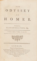 Books:Literature Pre-1900, [Homer]. Alexander Pope, Translator. The Odyssey of Homer.London: printed by Charles Rivington, 1760. Later edition...(Total: 5 Items)