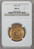 Liberty Eagles: , 1905 $10 MS63 NGC. NGC Census: (298/217). PCGS Population(220/110). Mintage: 200,900. Numismedia Wsl. Price for problemfr...