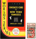 """Baseball Collectibles:Others, 1932 Babe Ruth """"Called Shot"""" World Series Game Three Program & Ticket Stub...."""