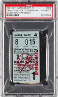 Baseball Collectibles:Tickets, 1951 New York Yankees Opening Day Ticket Stub--Mickey MantleDebut!...