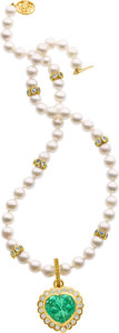 Estate Jewelry:Necklaces, Emerald, Diamond, Iolite, Cultured Pearl, Gold Necklace. ...