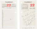 Miscellaneous:Ephemera, [Martin Luther King Jr.]. The Montgomery Improvement AssociationDesk Calendar for the Year 1959 with Autograph Note by Dr. Ki...