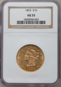 Liberty Eagles: , 1853 $10 AU55 NGC. NGC Census: (146/180). PCGS Population (42/61).Mintage: 201,253. Numismedia Wsl. Price for problem free...