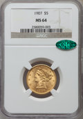 Liberty Half Eagles: , 1907 $5 MS64 NGC. CAC. NGC Census: (955/180). PCGS Population(711/107). Mintage: 626,192. Numismedia Wsl. Price for proble...