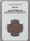 Large Cents, 1846 1C Small Date MS64 Brown NGC. NGC Census: (63/46). PCGS Population (27/6). Mintage: 4,120,800. Numismedia Wsl. Price f...
