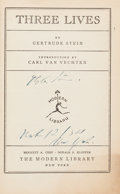 Books:Literature 1900-up, Gertrude Stein. Three Lives. New York: The Modern Library,[1933]. Later printing. Inscribed by the author....