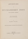 Books:Literature Pre-1900, Mark Twain. Adventures of Huckleberry Finn (Tom Sawyer'sComrade). New York: Charles L. Webster and Company, 188...