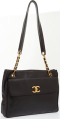Luxury Accessories:Bags, Chanel Black Lambskin CC Shoulder Bag with Gold Chain Detailing onStraps. ...