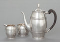 Silver Holloware, American:Coffee Pots, A THREE PIECE TIFFANY & CO. SILVER AND EBONIZED WOOD COFFEESERVICE . Tiffany & Co., New York, New York, circa 1955.Marks:... (Total: 3 Items)