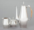Silver Holloware, American:Coffee Pots, A THREE PIECE REED & BARTON DIAMOND PATTERN SILVERCOFFEE SERVICE. Reed & Barton, Taunton, Massachusetts, circa... (Total: 3 Items)