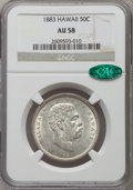 Coins of Hawaii: , 1883 50C Hawaii Half Dollar AU58 NGC. CAC. NGC Census: (64/159).PCGS Population (44/230). Mintage: 700,000. ...