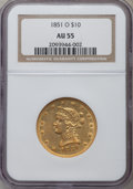 Liberty Eagles: , 1851-O $10 AU55 NGC. NGC Census: (186/118). PCGS Population(44/29). Mintage: 263,000. Numismedia Wsl. Price for problem fr...