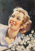 Pin-up and Glamour Art, Attributed to HADDON HUBBARD SUNDBLOM (American, 1899-1976).Blonde Beauty with Flowers, probable advertisement. Oil on...