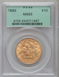 Liberty Eagles: , 1893 $10 MS63 PCGS. PCGS Population (2237/245). NGC Census: (6535/753). Mintage: 1,840,895. Numismedia Wsl. Price for probl...