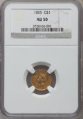 Gold Dollars: , 1855 G$1 AU50 NGC. NGC Census: (218/4803). PCGS Population(381/2535). Mintage: 758,269. Numismedia Wsl. Price for problem ...