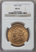 Liberty Double Eagles: , 1893-S $20 MS62 NGC. NGC Census: (1678/302). PCGS Population(1439/568). Mintage: 996,175. Numismedia Wsl. Price for proble...