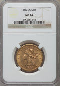 1893-S $10 MS62 NGC. NGC Census: (147/19). PCGS Population (146/53). Mintage: 141,350. Numismedia Wsl. Price for problem...