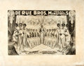 Miscellaneous:Broadside, [Music, Broadside]. Broadside Advertising The De Rue Bros, IdealMinstrels. Ca. 1909. Adhered to foam board backing. Measure...