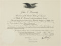 Autographs:U.S. Presidents, John F. Kennedy Document Signed....