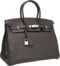 Luxury Accessories:Bags, Hermes Special Order Horseshoe 35cm Graphite & Ultra VioletClemence Leather Birkin Bag with Palladium Hardware. ...