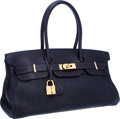 Luxury Accessories:Bags, Hermes 42cm Indigo Clemence Leather Shoulder Birkin II Bag with Gold Hardware. ...