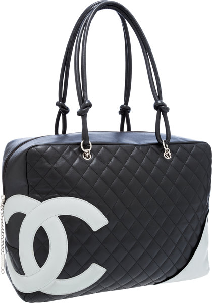 Chanel Black Quilted Lambskin Leather Oversize Cambon Tote Bag