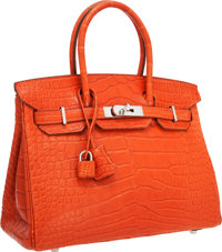 Hermes 30cm Matte Sanguine Alligator Birkin Bag with Palladium Hardware