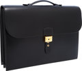 Luxury Accessories:Bags, Hermes 40cm Black Calf Box Leather Sac a Depeches Briefcase withGold Hardware. ...