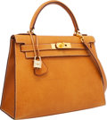 Luxury Accessories:Bags, Hermes 28cm Natural Peau Porc Leather Sellier Kelly Bag with GoldHardware. ...