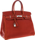 Luxury Accessories:Bags, Hermes 35cm Brick Calf Box Leather Birkin Bag with Palladium Hardware. ...