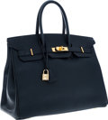 Luxury Accessories:Bags, Hermes 35cm Indigo Epsom Leather Birkin Bag with Gold Hardware. ...