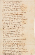 Autographs:Statesmen, [Revolutionary War]. Manuscript Poem Written at Sea Onboard theBrig Saratoga, 1779....