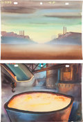 Animation Art:Production Drawing, Scrap for Victory Gandy Goose Production Background PaintingOriginal Art Group (Terrytoons, 1943).... (Total: 2 Original Art)